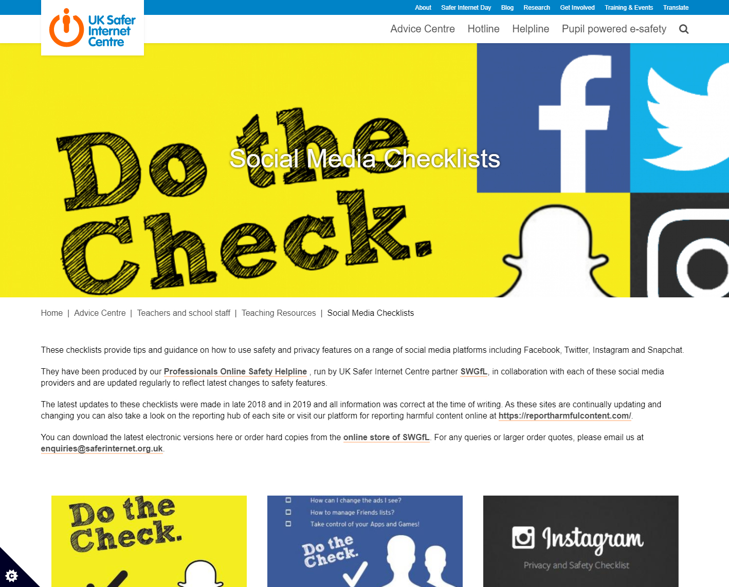 UK Safer Internet Centre Social Media Checklists